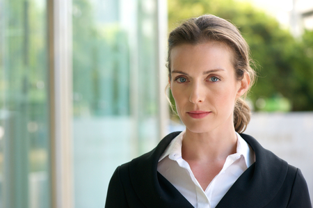 37864704 - close up portrait of an attractive business woman with serious face expression