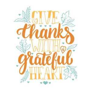63783864 - give thanks with a greatful heart - thanksgiving day lettering calligraphy phrase. autumn greeting card isolated on the white background.